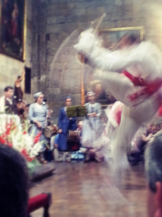 Dantza, traditional Basque dance, performed at the Basílica de Nuestra Señora de Begoña